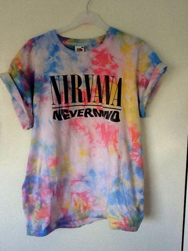 colorful tie dye rock graphic tee nirvana t-shirt summerlife colorful nirvana nevermind whatever cute pinterest hipster tie dye shirt band t-shirt rainbow tie dye multicolor t-shirt t-shirt t-shirt color/pattern colorful pink music one direction one direction 90s style grunge shirt
