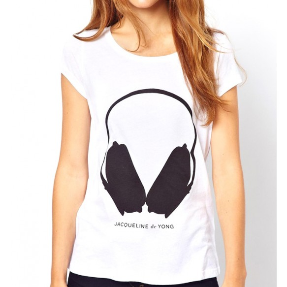 Headphone Print T-shirt With Cap Sleeves at Style Moi