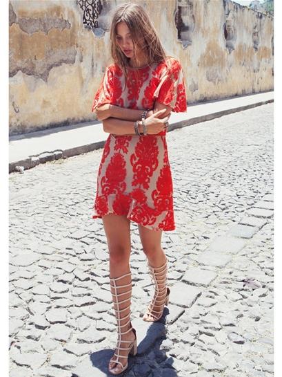 For Love & Lemons San Marcos Mini Dress in Red