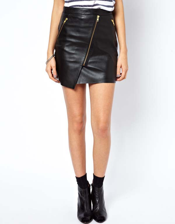 2013 New Fashion Lady Summer Above Knee Mini Oblique Zipper PU Leather Women's Solid Color Short Skirt in Stock-in Skirts from Apparel & Accessories on Aliexpress.com