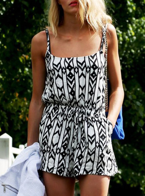 shorts jumpsuit geometric black and white casual summer