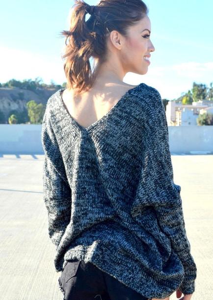 sweater black grey grey grey sweater grey sweater black sweater black and gray sweater oversized sweater v-back v back sweater v back