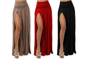 PLUS SIZE SEXY HIGH WAIST DOUBLE SLIT FRONT RAYON JERSEY LONG MAXI SKIRT 1X 2X 3 | eBay