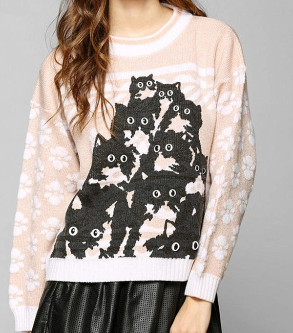 sweater cats cats funny sweater cute meow paws fuzzy sweater lovely pink peachy pink