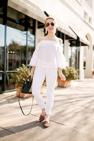 lonestar southern blogger top blouse jeans jewels shoes sunglasses bag off the shoulder smoking slippers handbag