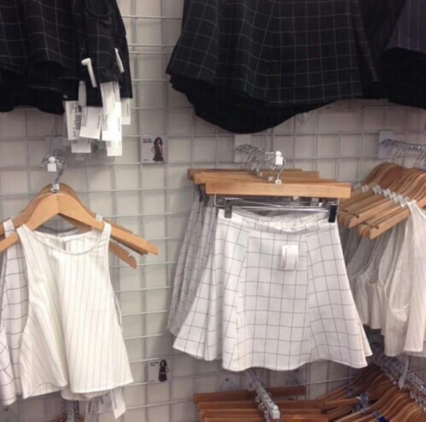 top skirt white dress black bikini ootd short checkered