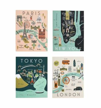 home accessory card stationary gift ideas map print