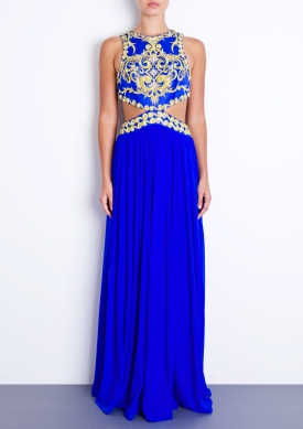 LAILA - Blue Mesh Maxi Dress
