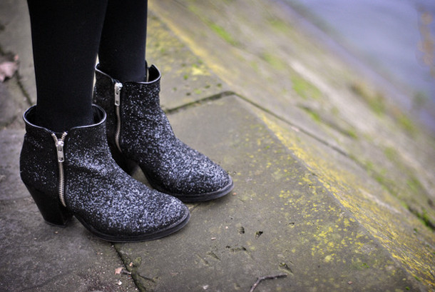 low boots glitter shoes