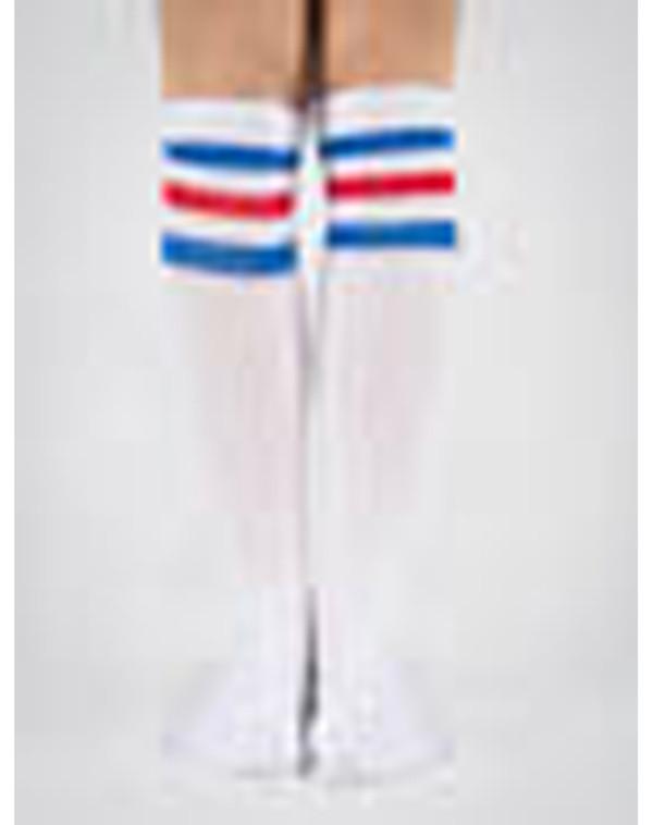 shoes blue white red fashion knee high socks socks collage