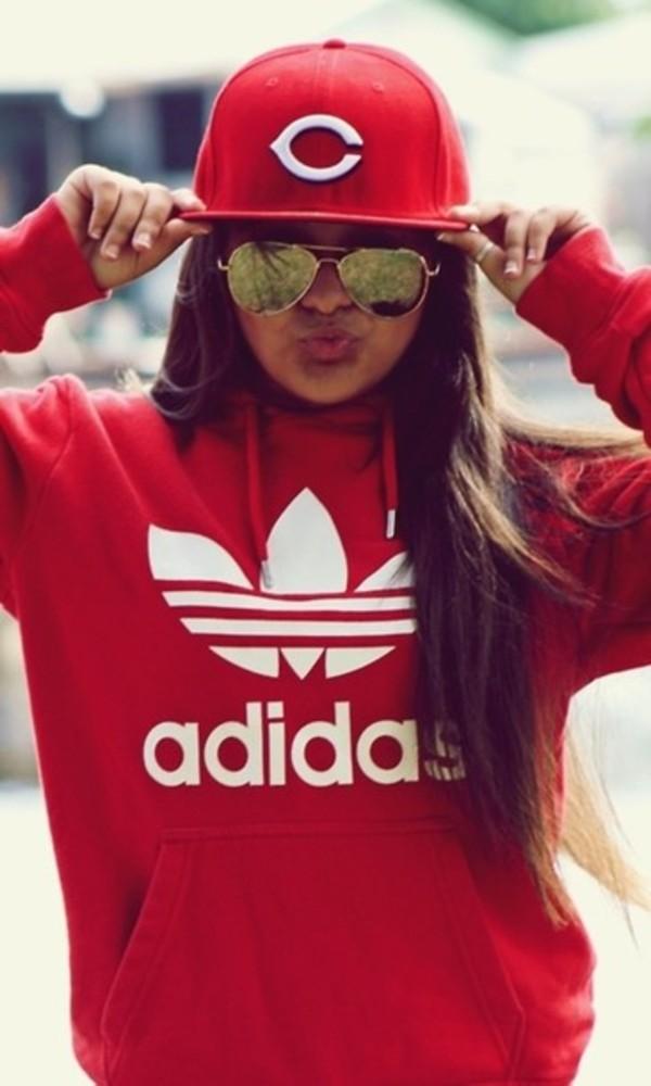 shirt hoodie adidas red cute