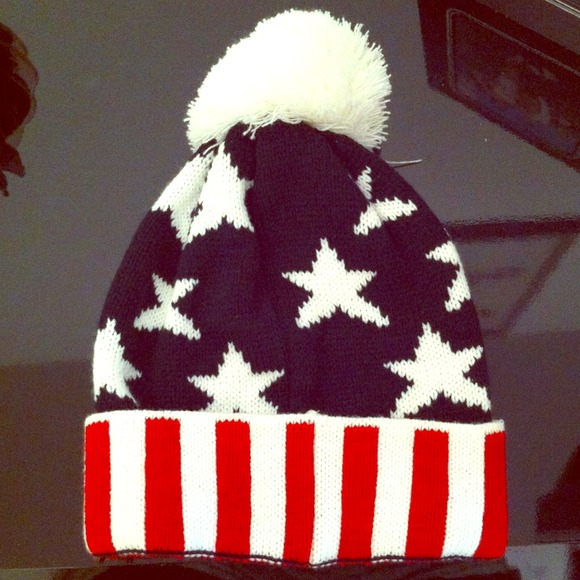 46% off  Accessories - American Flag Pom Beanie from Annie's closet on Poshmark
