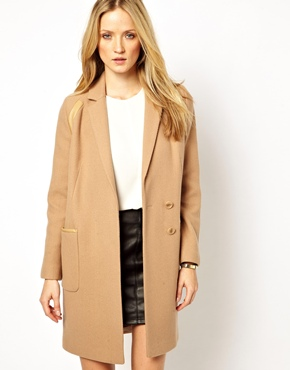 Whistles | Whistles Isla Coat with Leather Panel at ASOS