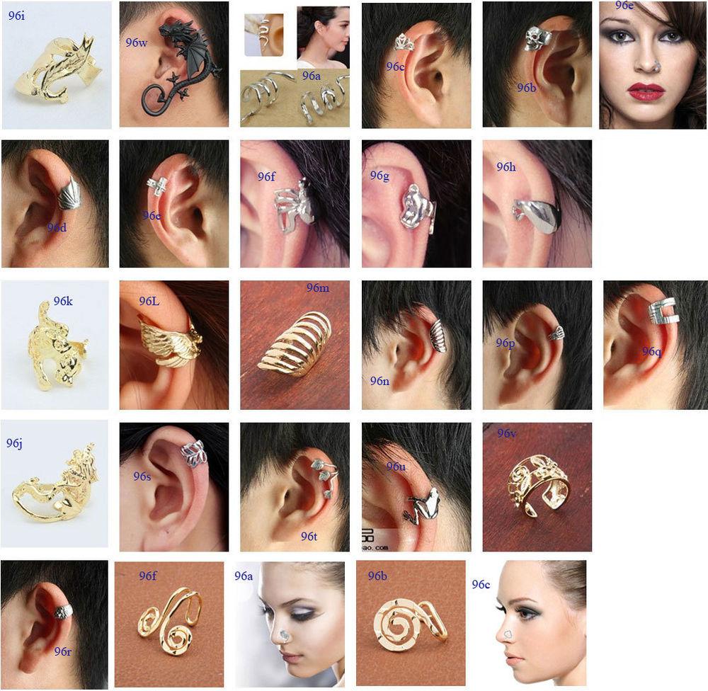 mens womens unisex Gothic Punk Ear Cuff Wrap Clip-on non piercing nose lip ring | eBay