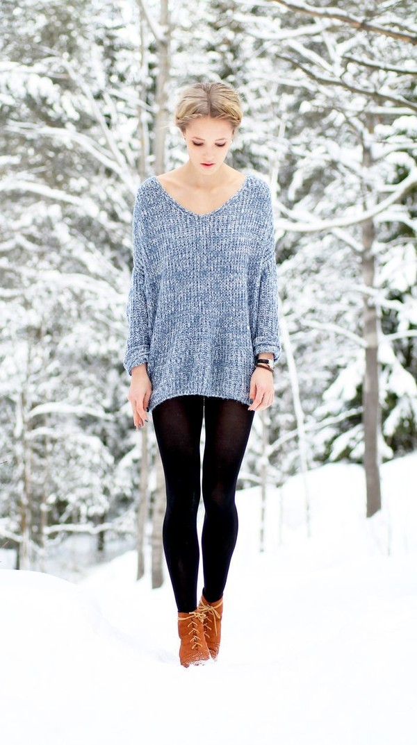 sweater oversized textured knit tights light blue blue girly Choies
