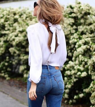 shirt tumblr white shirt long hair brunette denim jeans blue jeans bow bow top button up