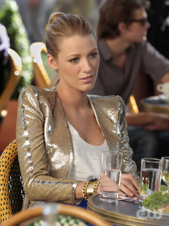 gold serena blake lively gossip girl yellow jacket jewels jacket
