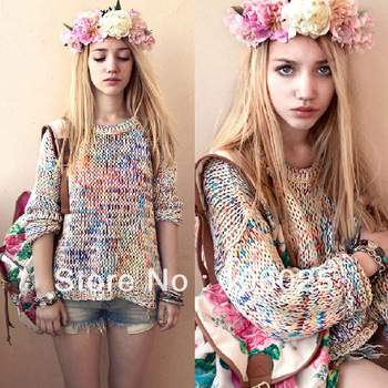 2013 autumn and winter sweet gentlewomen topshop vintage all match rainbow yarn jumper knitted sweater-inSweaters from Apparel & Accessories on Aliexpress.com