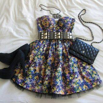 dress floral belt shoes bag jewelry floral dress blue dress blue hippie cute summer dress summer bohemian dress flowers chanel flora dress