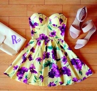 dress floral yellow yellow dress purple dress purple flowers floral dress strapless dress multicolor bustier dress shoes summer sandals flats white