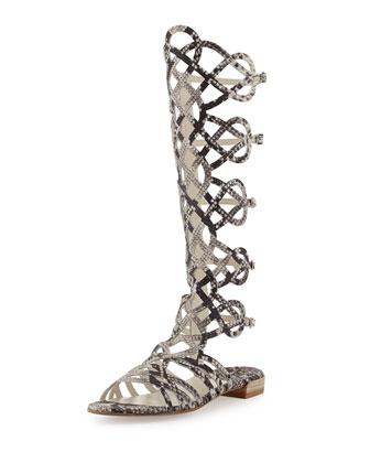 Stuart Weitzman Aphrodite Snake-Print Leather Gladiator Sandal