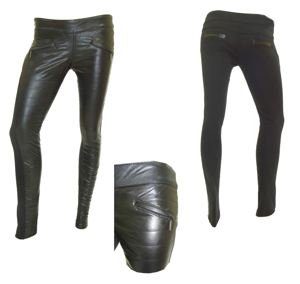WOMENS NEW LEATHER LOOK STRIPE QUILTED WITH DIAMOND SILVER ZIP POCKET TROUSER | eBay