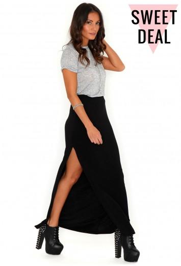Jenna Value Split Maxi Skirt In Black - Skirts - Missguided