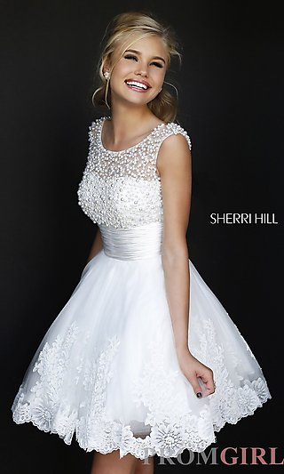 Prom Dresses, Celebrity Dresses, Sexy Evening Gowns - PromGirl: Short High Neck White Sherri Hill Dress