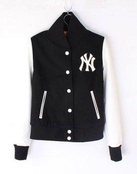 Womens NY Yankee Baseball jacket Black White [Womens NY Yankee Black White] - $115.00 : Varsity Letterman Jackets,Varsity Jackets For Girls Online Store!