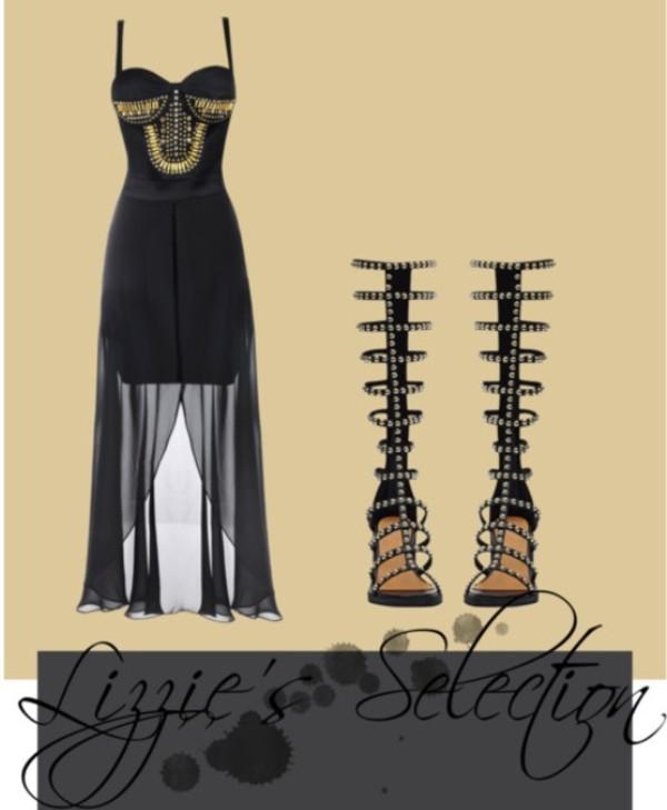 dress studs chiffon dress black dress studded heels chiffon heels knee high cocktail dress gladiators studded gladiators