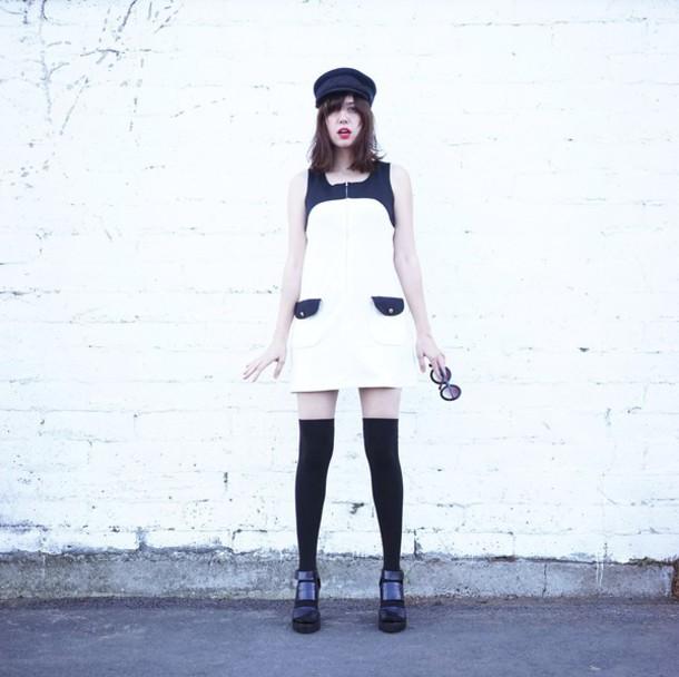 a fashion nerd blogger shift dress knee high boots black shoes fisherman cap dress shoes
