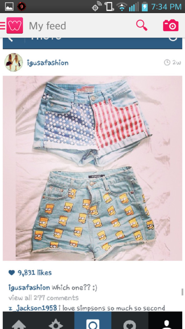 graphic tee High waisted shorts the simpsons american flag shorts