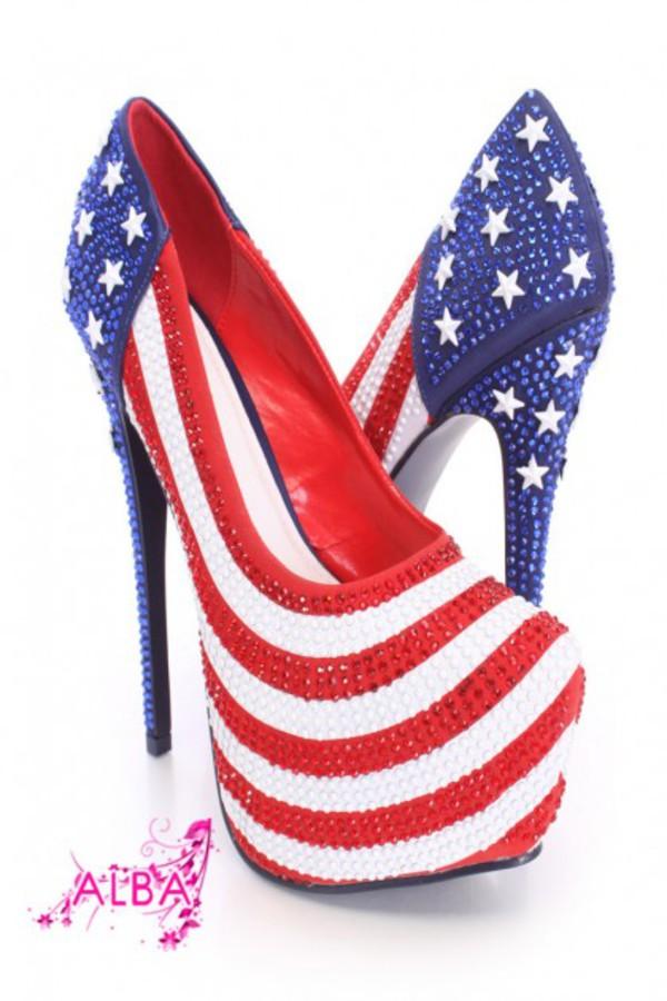 shoes american flag pattern rhinestone pump heels fabric american flag pumps rhinestone pattern pump usa heels
