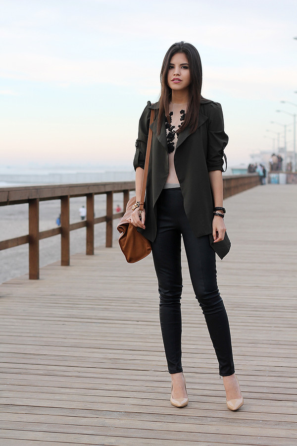 fake leather t-shirt coat pants shoes jewels