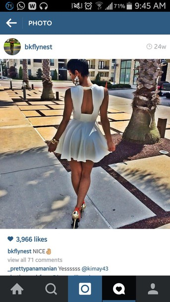 dress white short dress open back dresses fit and flare dress sexy dress all white party white cocktail dress party dress mini dress