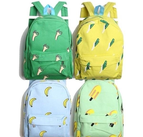 bag colorful brand celebrity backpack wow green yellow banana print peace sleep amazing fashion like love nice good usa cool blue ice cream