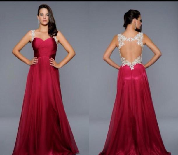 dress prom dress chiffon a line dress red dress