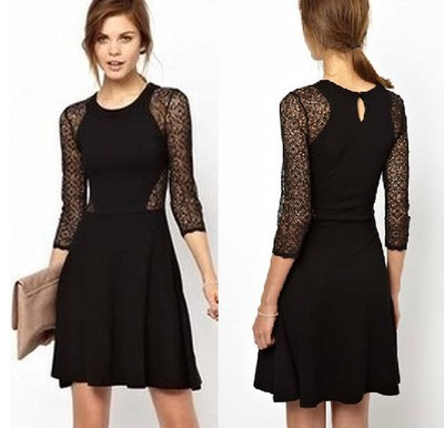 yourfashionsandcute | Black Contrast Lace Hollow Long Sleeve Ruffle Dress | Online Store Powered by Storenvy