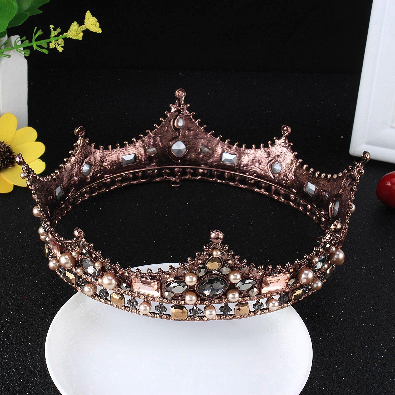 com: fumud baroque vintage black rhinestone beads round big crown