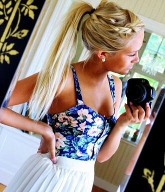 shirt bustier corset floral blue white skirt corset top pleated tank top blouse