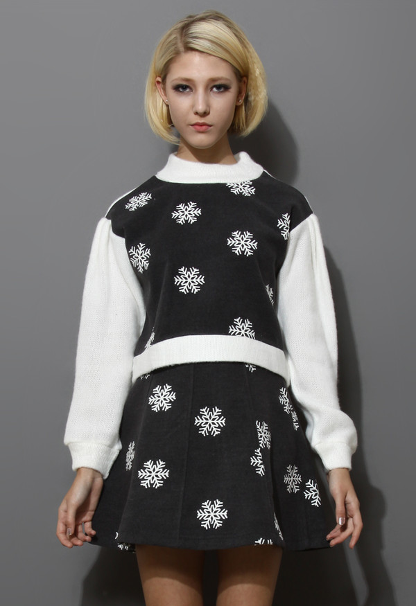 sweater snowflake embroidered knitted top