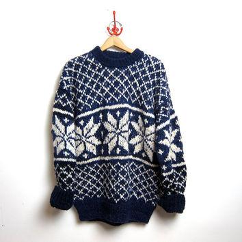 vintage oversized wool sweater. chunky Ecuador sweater. Hand woven sweater. on Wanelo