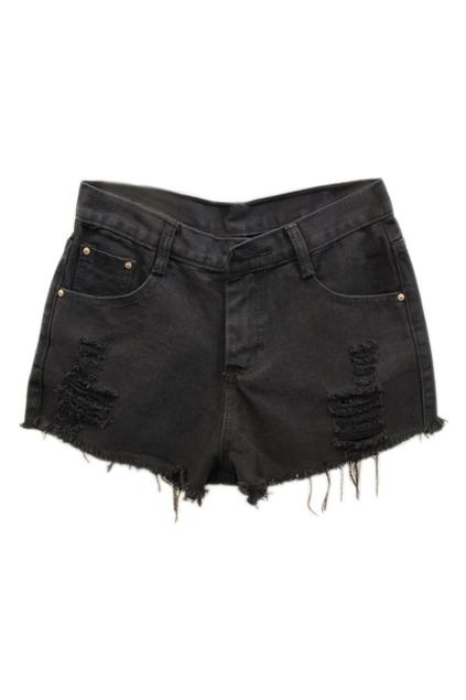 ROMWE | Romwe Shredded Black Denim Shorts, The Latest Street Fashion