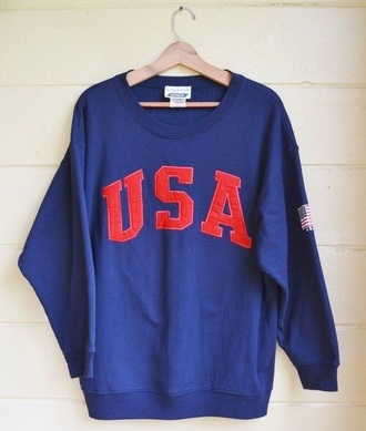 jacket usa america usa sweatshirt red white and blue sweatshirt sweater blue sweater