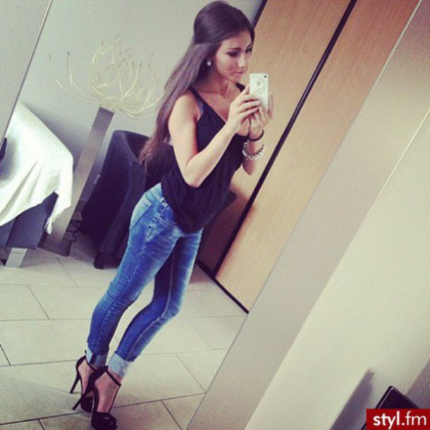 jeans blue jeans high heels shoes