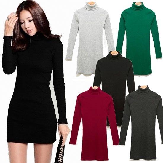Fashion women casual high neck long sleeve slim turtlenecks mini tee dress zz12 | eBay