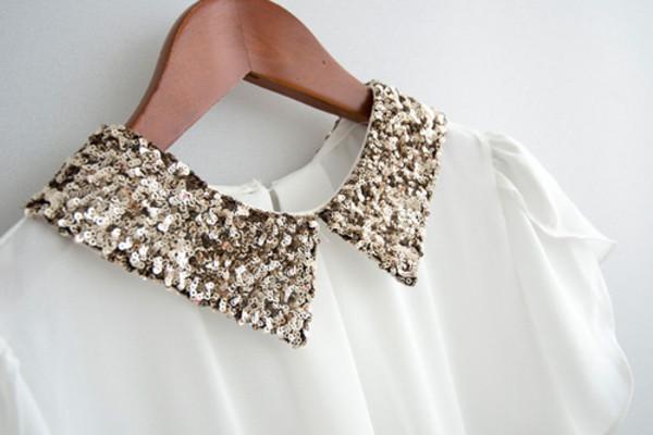 blouse white glitter shirt gold dress elegant sequins collar