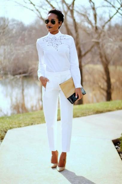 white shirt white pants