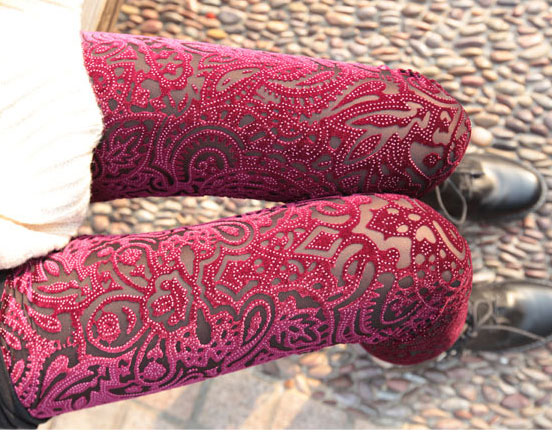 Fashion Gold Velvet Carved Lace Hollow Out Leggings from unusual on Storenvy