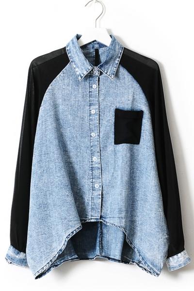 Chiffon Sleeve High-low Denim Shirt - OASAP.com